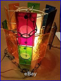 Vintage Mid Century Lucite Hanging Swag Multi Color Lamp Light Fixture MCM Retro