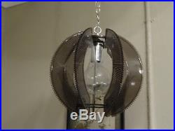 Vintage Mid Century Lucite String Wires Hanging Ceiling Swag Lamp Light Retro