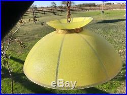 Vintage Mid Century MOE Lighting Lemon Yellow Hanging SAUCER Lamp Light Fixture