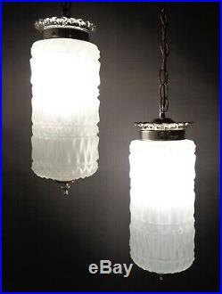 Vintage Mid Century Modern 2 Light Cut Glass Hanging Swag Lamp Hollywood Regency