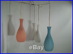 Vintage Mid Century Modern 3 Light Frosted Shade Hanging Pendant Swag Lamp Retro