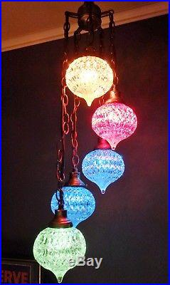 Vintage Mid Century Modern 5 LIGHT Plug-In Hanging SWAG LAMP with Glass Globes