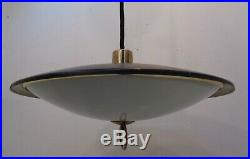 Vintage Mid Century Modern Atomic UFO Flying Saucer Hanging Lamp Light Space Age