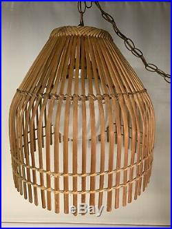 Vintage Mid Century Modern Boho Split Bamboo Rattan Swag Hanging Light Lamp