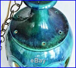 Vintage Mid Century Modern Caribbean & Azure Blue Art Pottery Hanging Swag Lamp