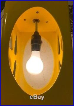 Vintage Mid Century Modern Ceramic Swag Hanging Rectangular Ceiling Lamp