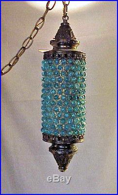 Vintage Mid Century Modern Cracked Blue Marbles Hanging Swag Lamp Light