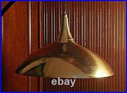 Vintage Mid Century Modern Flying Saucer Hanging Brass Lamp Light Eames Era