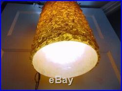Vintage Mid Century Modern Gld Yellow Hanging SWAG LAMP Light Lucite Fiberglass