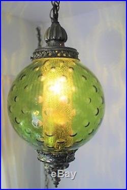 Vintage Mid-Century Modern Green Glass Hanging Swag Lamp / Light 60s RETRO