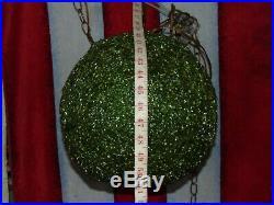 Vintage Mid Century Modern Green Hanging SWAG LAMP Light Spaghetti Spun