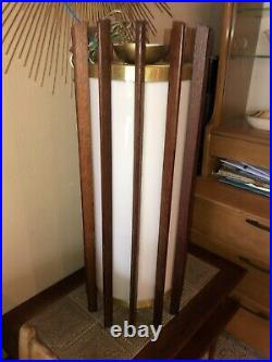 Vintage Mid Century Modern Hanging Light Lamp Wood Teak Brass Pendant McFadden