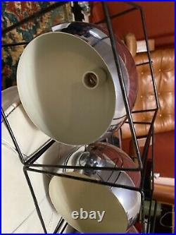 Vintage Mid Century Modern Large Chrome Hanging Ceiling Orb Eye Ball Lamp Light