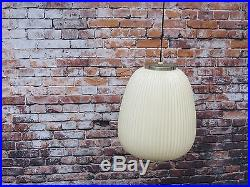 Vintage Mid Century Modern Large White Hanging Pendant Bubble Lamp Light