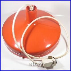 Vintage Mid Century Modern Lightolier Orange Saucer Hanging Pendant Lamp WORKS
