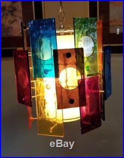 Vintage Mid Century Modern Lucite Multi Colors Hanging Lamp Chandelier Light