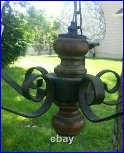 Vintage Mid Century Modern MCM Black Metal Hanging Globe Chandelier Swag Lamp