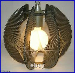 Vintage Mid Century Modern MCM Lucite String Sphere Hanging Lamp