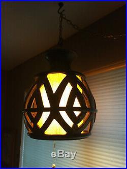Vintage Mid Century Modern MCM Swag Hanging Light Lamp
