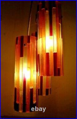 Vintage Mid Century Modern Moe Fiesta 3 Pendant Hanging Lucite Lamp Light Retro