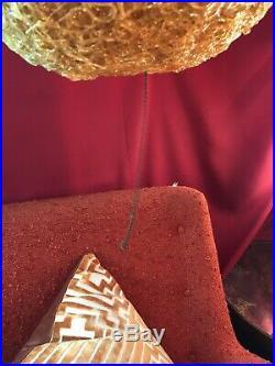 Vintage Mid Century Modern Orange Spaghetti Hanging Swag Lucite Lamp