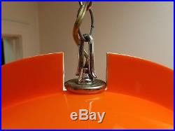 Vintage Mid Century Modern Orange Sphere Acrylic Lucite Hanging Lamp