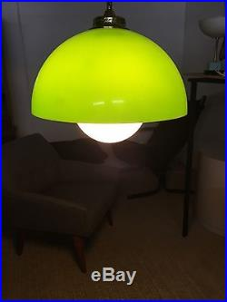 Vintage Mid Century Modern Panton Hanging Acrylic Plexiglass Green Swag Lamp