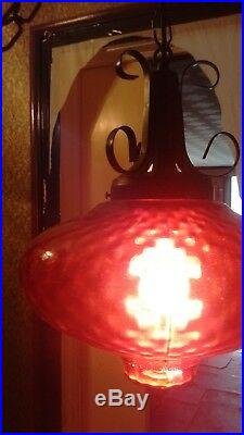 Vintage Mid Century Modern Red Glass UFO Hanging Swag Lamp Light 60s RETRO 70s