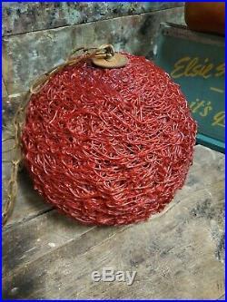 Vintage Mid Century Modern Red Hanging SWAG LAMP Light Spaghetti Spun 12' Chain