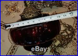 Vintage Mid-Century Modern Red/Maroon Glass Hanging Swag Lamp / Light 60s RETRO