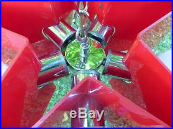 Vintage Mid Century Modern Red Star Acrylic Chrome Hanging Lamp 5 Globe Light