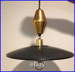 Vintage Mid Century Modern Retractable Flying Saucer UFO Hanging Ceiling Lamp