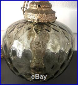 Vintage Mid Century Modern Smoke Gray Glass Swag Hanging Lamp Light