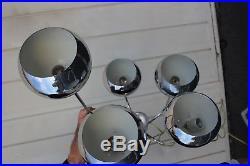 Vintage, Mid-Century Modern, Space Age, Hanging, Chrome Eyeball Lamp