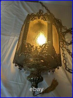Vintage Mid Century Modern Swag Lamp Hanging Chandelier Light Hollywood Regency