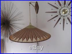 Vintage Mid Century Modern Teak & Fiberglass Shade Hanging Wall Lamp