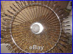 Vintage Mid Century Modern Thurston Eames Minimalist Chrome Wire Hanging Lamp