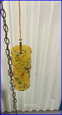 Vintage Mid Century Modern Yellow Fiberlgass Hanging Chain Swag Lamp