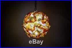 Vintage Mid Century Multi Colored Lucite Lava Rock Hanging Swag Lamp Spaghetti