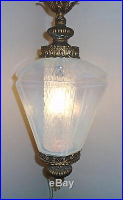 Vintage Mid Century Opalescent Moonstone Carl Falkenstein 1966 Hanging Swag Lamp