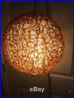 Vintage Mid Century Orange/Amber Spun Acrylic Lucite Spaghetti Hanging Swag Lamp