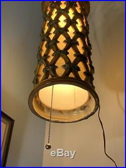 Vintage Mid Century Pottery Hanging Swag Lamp
