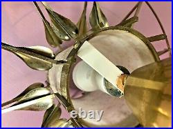 Vintage Mid Century Pull Down Light Hanging Pendant Lamp Brutalist Art Deco leaf