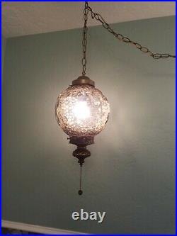 Vintage Mid Century Smoke Glass Globe Hanging Swag Lamp Grape Pattern Gray