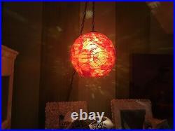 Vintage Mid Century Spaghetti Hanging Swag Lamp Light Lucite Red Orange Chunky