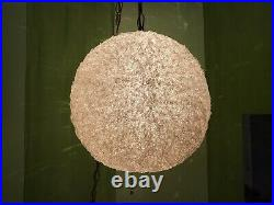 Vintage Mid Century Spaghetti Hanging Swag Lamp Light Lucite White Clear Globe
