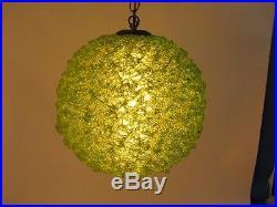 Vintage Mid Century Spaghetti Spun Lucite Hanging Lamp Light Avocado Green 14x12