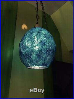 Vintage Mid Century Spaghetti Strap Lamp Hanging Swag Light Lucite Blue Shade #2
