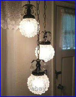 Vintage Mid Century Swag Glass Lamp Light Hollywood Regency 3 Tier Pineapple