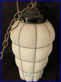 Vintage Mid Century Swag Lamp Hanging Lamp Light Glass Metal GILBERT WORKS